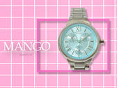【時間道】MANGO 經典時尚羅馬刻度三眼腕錶 / 水藍面鋼帶(MA6667L-54)免運費