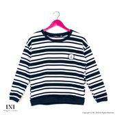 【INI】日常搭配、條紋簡單風格上衣.黑色
