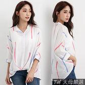 【天母嚴選】配色前壓摺襯衫領棉麻上衣(共二色)