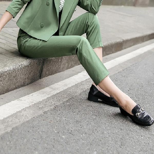 大方格復古簡約直筒西裝褲[20X249-PF]小三衣藏