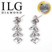 【ILG鑽】頂級八心八箭擬真鑽石耳環-ER020- 巴黎方鑽款