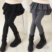 女童打底褲加絨冬裝女孩裙褲新款純棉假兩件外穿褲子兒童褲裙 衣櫥秘密