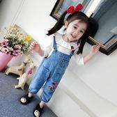 兒童吊帶褲韓版中小童牛仔褲女寶寶口袋長褲子1-3歲 三角衣櫃