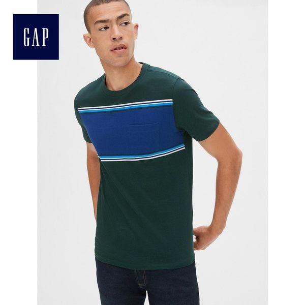 Gap男裝 條紋口袋圓領短袖T恤 440758-校園綠
