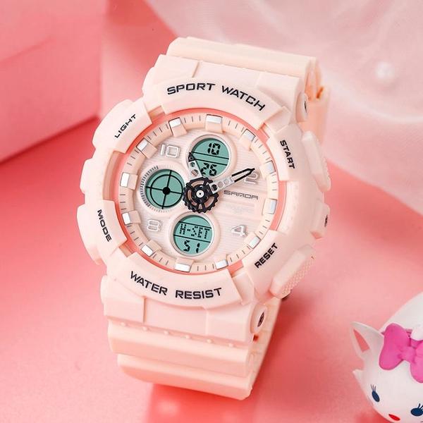 新款果凍色多功能防水運動電子錶男女青少年學生錶夜