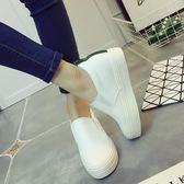 店長推薦內增高小白鞋女新款百搭一腳蹬女鞋厚底懶人鞋正韓白鞋子