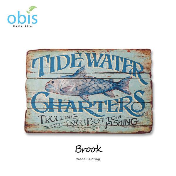 AA012-Brook藍色情海地中海風木板畫/預購(OBS/13QH030QLA2字牌)【DD House】