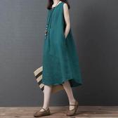 棉麻顯瘦刺繡背心洋裝-中大尺碼 獨具衣格 J2724
