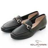 【CUMAR】極簡生活 - 動物紋飾扣休閒平底樂福鞋(黑色)