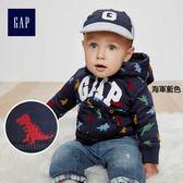 Gap男嬰兒 logo長袖寶寶連帽休閒外套 柔軟上衣 374294-海軍藍色