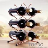 創意歐式紅酒架擺件現代簡約簡易葡萄酒瓶架子酒櫃裝飾品擺件igo「Top3c」