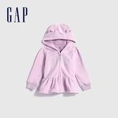 Gap嬰兒 LOGO荷葉邊飾開襟熊耳連帽衫 593695-淡紫色