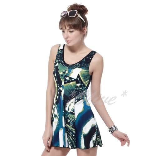 ☆小薇的店☆MIT沙兒斯品牌【抽象彩繪圖騰】時尚連身裙泳裝特價990元 NO.B98523(L-5L)