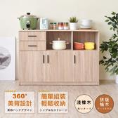【預購-預計10/10出貨】【Hopma】工業風三門二抽二格廚房櫃/收納櫃-淺橡木