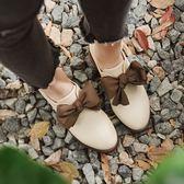 小皮鞋.氣質撞色大蝴蝶結低跟皮鞋.白鳥麗子