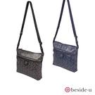 beside u BMR 防盜刷圖紋LOGO印花耐磨防刮簡約方形側背包 - 黑色、藍色 原廠公司貨
