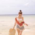 罩衫 撞色 鏤空 不規則 五分袖 沙灘 比基尼 罩衫【ZS310】 icoca  04/26
