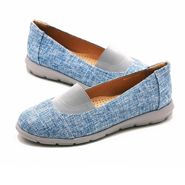 W&M 拼色異材質樂福鞋 女鞋-藍(另有黑、米)