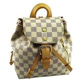 【奢華時尚】LV SPERONE BB 白色棋盤格紋帆布束口小後背包(八成新)#25338