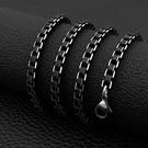《 QBOX 》FASHION 飾品【NXL0067】 精緻個性歐美黑色方盒環扣鋁合金項鍊子/鍊條