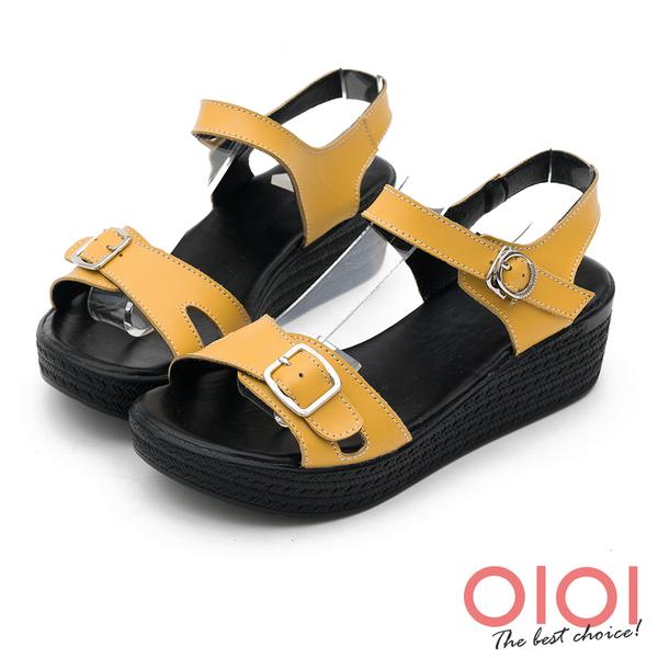 楔型涼鞋 個性涼夏純色真皮楔型涼鞋(黃) *0101shoes 【18-D35y】【現貨】