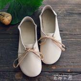 圓頭娃娃鞋系帶牛皮軟底文藝森系女鞋日系甜美平跟復古單鞋   米娜小鋪