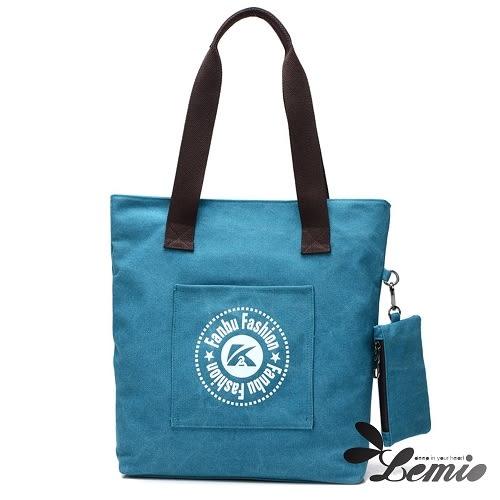 【Lemio】韓版運動風學院購物單肩包(湖水藍)