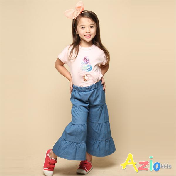 Azio 女童 上衣 彩色亮片霜淇淋立體網紗蝴蝶結連袖上衣(粉) Azio Kids 美國派 童裝