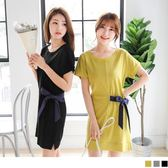 OrangeBear《DA4636》側腰配色蝴蝶結綁帶側襬開衩純色高含棉洋裝.3色--適 XL~5L