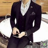 韓國新郎西服套裝男韓版修身結婚禮服秋季新款帥氣男士西裝三件套 igo小宅女