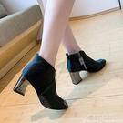 加絨漆皮短靴女秋冬季高跟鞋2021新款金屬尖頭淺米白色短靴女粗跟 夏季新品
