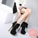 高跟短靴 真兔毛滾邊細跟側邊拉鍊 裸靴 踝靴大尺碼35-40 *KWOOMI-A92