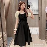 短洋裝 夏裝新款中長款赫本風小黑裙時尚氣質收腰顯瘦a字洋裝女潮