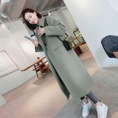 中長款毛呢外套女秋冬季韓國學生過膝妮子大衣修身繭型潮