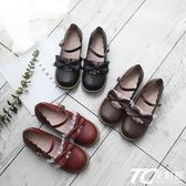 娃娃鞋/日系可愛圓頭娃娃鞋蝴蝶結茶會鞋軟妹小皮鞋