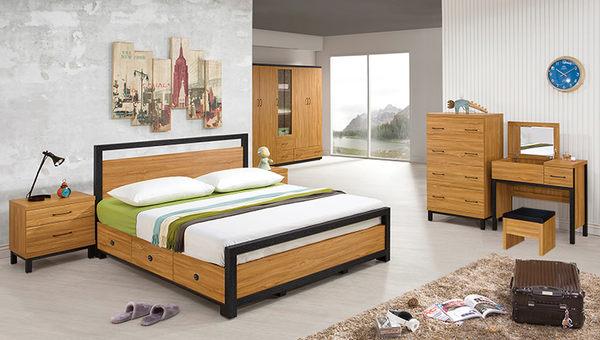【森可家居】克洛澤6尺床組(全組) 7ZX185-3 雙人床臥室房間組 北歐工業風 木紋質感