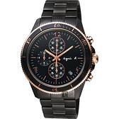 agnes b. 巴黎限定計時手錶-鍍黑x玫塊金框/43mm VK67-KXB0K(B7A004X1)