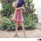 《CA1912》臧芮軒。純色透視網紗拼接修身魚尾短裙 OrangeBear