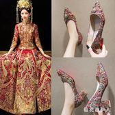 粗跟高跟鞋婚鞋女2019新款之中式結婚鞋孕婦秀禾服高跟鞋大紅色結新娘鞋 PA8063『棉花糖伊人』