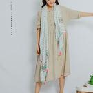 洋裝   半開襟素色亞麻長洋裝   單色原單-小C館日系