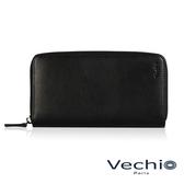 【VECHIO】紳士商務款II-經典素面拉鍊長夾(時尚黑)VE038W05BK