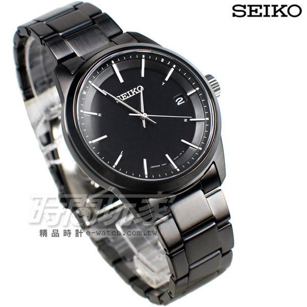 SEIKO 精工錶 SPIRIT 萬年曆 太陽能電波腕錶 IP電鍍黑色 不銹鋼帶 男錶 SBTM235J 7B24-0BJ0SD 日期視窗