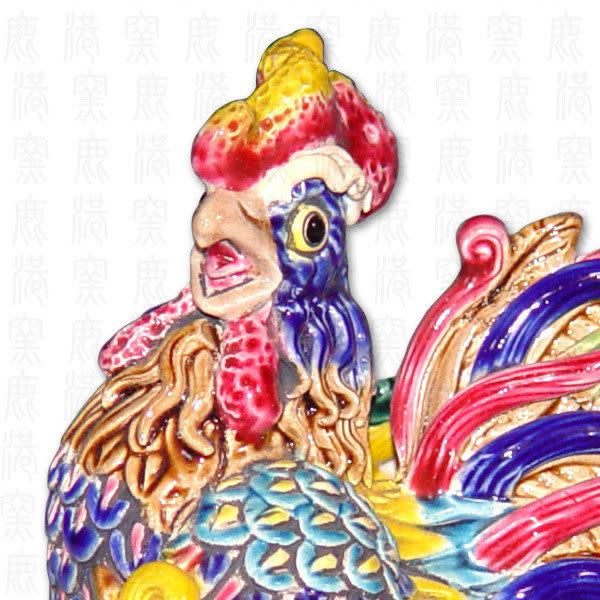 鹿港窯-居家開運商品-台灣國寶交趾陶S十二生肖-雞◆附精美包裝◆免運費送到家