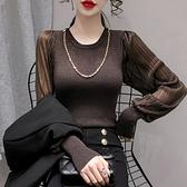 鏈條裝飾拼接複古透視褶皺泡泡袖S-XL修身打底百搭亮絲針織衫GD365-E.9907 1號公館