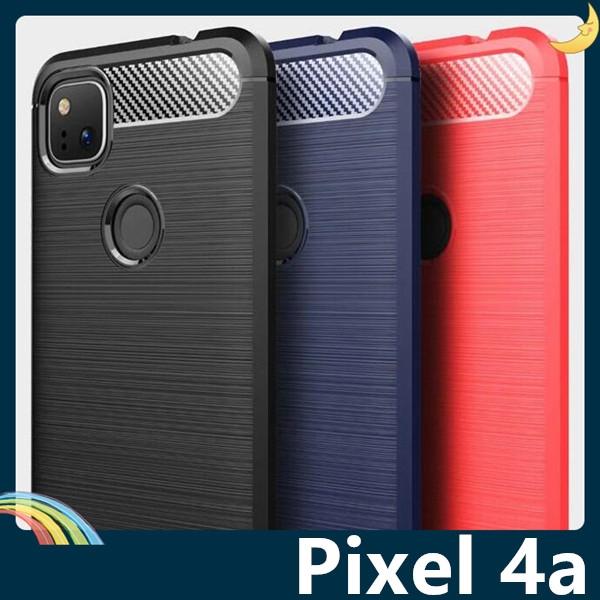 Google Pixel 4a 5G 戰神碳纖保護套 軟殼 金屬髮絲紋 軟硬組合 防摔全包款 矽膠套 手機套 手機殼 谷歌