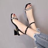 涼鞋女一字帶水鑽高跟鞋粗跟方頭仙女女鞋