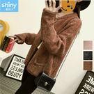 【V2782】shiny藍格子-入冬暖意.純色雙口袋針織毛衣外套
