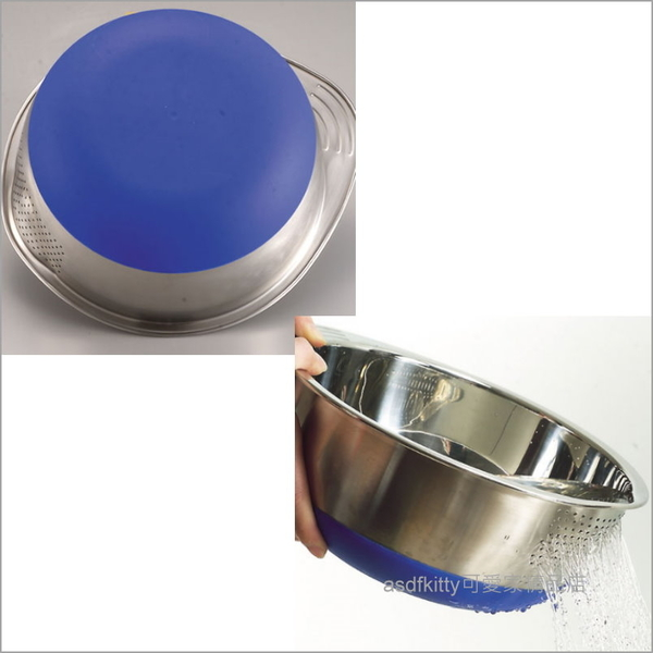 asdfkitty可愛家☆日本ARNEST藍色不鏽鋼止滑洗米盆-也可洗綠豆.紅豆.薏仁.海帶芽...等-日本正版商品