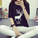 """ZUCA""""S - 韓版經典百搭寬鬆小鹿短袖T恤 - T-075"""