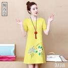 夏季短袖洋裝棉麻連身裙2020年新款印花大碼T恤高端洋氣時尚中長款裙子 LR20825『麗人雅苑』